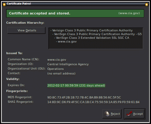 screenshot of a certificate patrol report